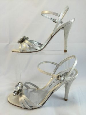 "Lisa Kay,  ""Charlize"" Gold platform peep toe stiletto"
