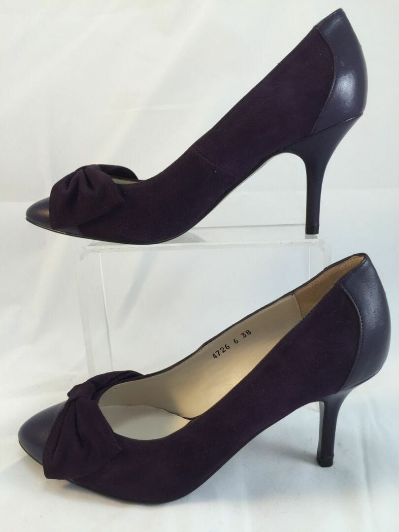 "Lisa Kay,  ""Zeta"" Purple suede and leather combination closed pointed stiletto with bow decoration"