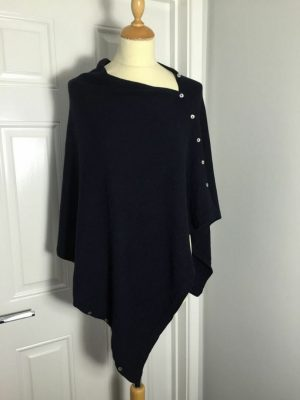 Luella, Italian cashmere/wool button poncho navy blue
