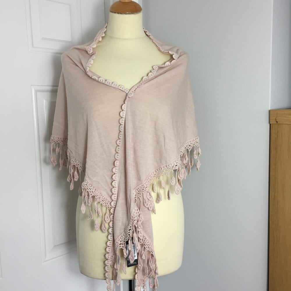 Jayley, fine knit pink shawl with pearl and gemstone decoration