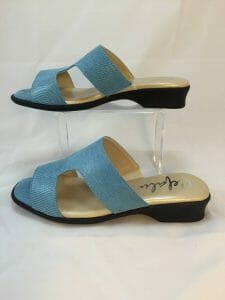 "Cefalu, ""Cairo"" sky blue open toe leather mule"