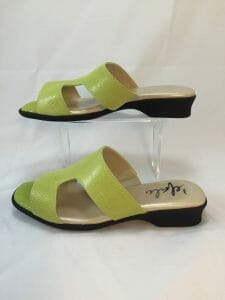 "Cefalu, ""Cairo"" green open toe leather mule"