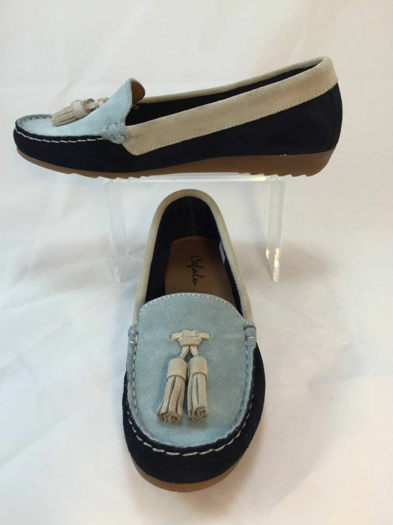 Cefalu, 8939 suede multi coloured loafer blue/navy/white