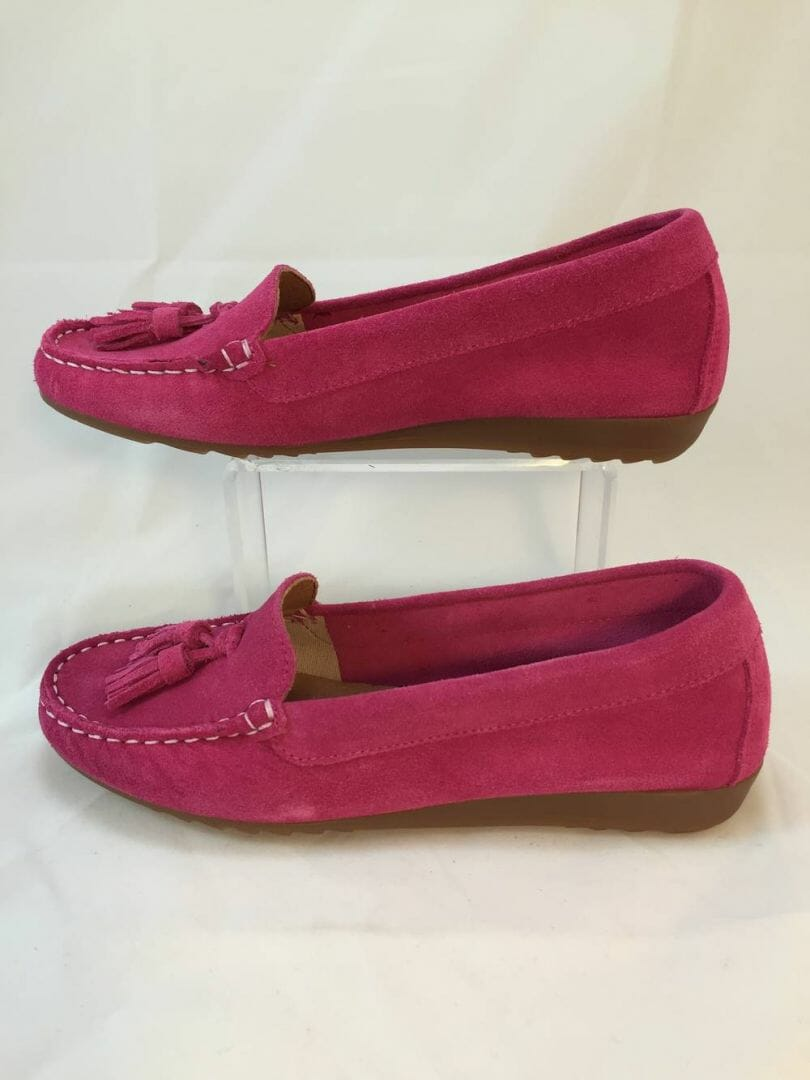cefalu 8939 fuschia pink suede leather loafer