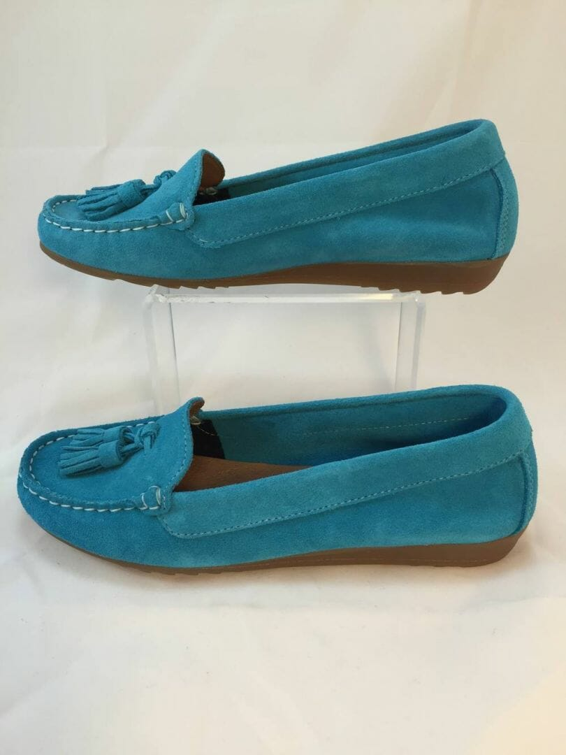 Cefalu, 8939 Turquoise blue suede leather loafer