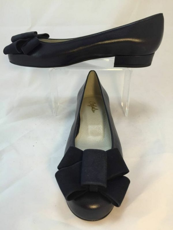 Cefalu Cuxiskysin navy blue leather with navy suede bow detail shoe