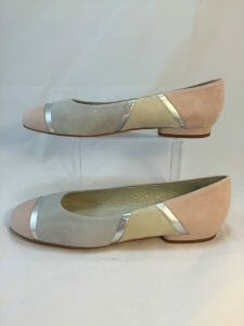 Cefalu Curba pink, cream, grey, silver suede leather shoe