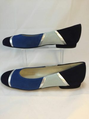 Cefalu Curba navy, pale and royal blue and silver suede leather shoe