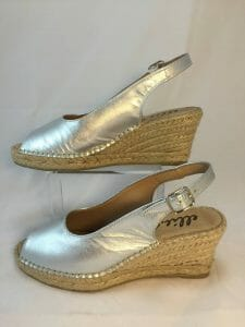 Ellie.d 34012 Silver metallic leather espadrille wedge