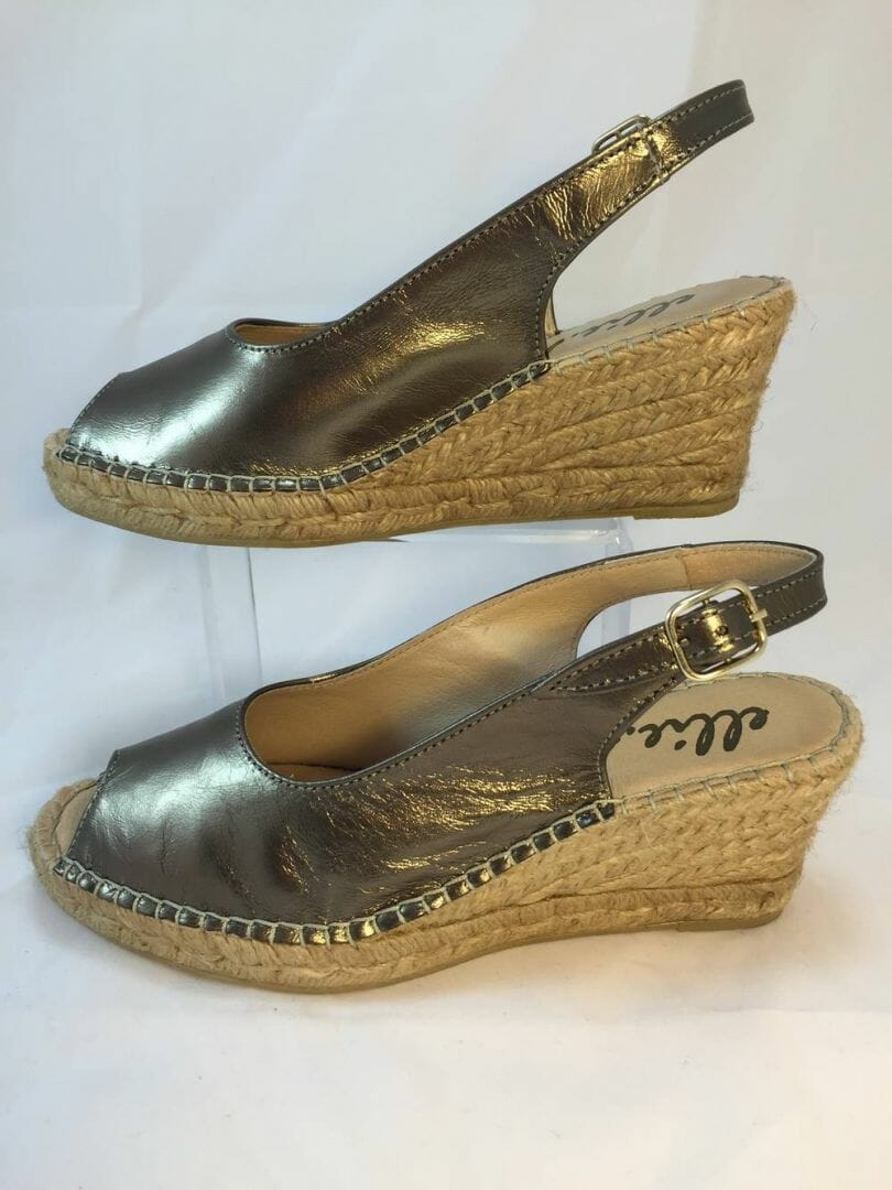 Ellie.d 34012 Bronze metallic leather espadrille wedge