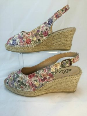 Ellie.d 34023 Spring multicolour pink leather espadrille wedge
