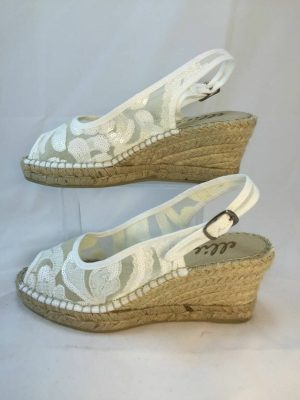 Ellie.d 34004 white net and sequin espadrille wedge