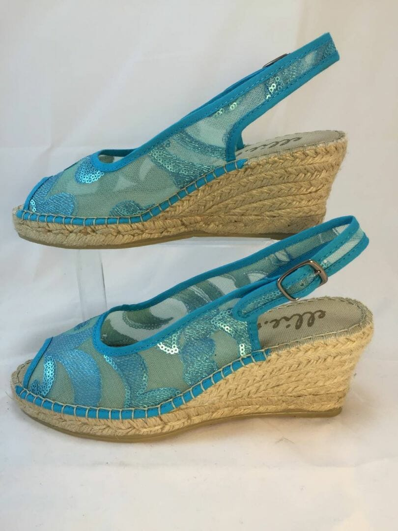Ellie.d 34004 turquoise net and sequin espadrille wedge