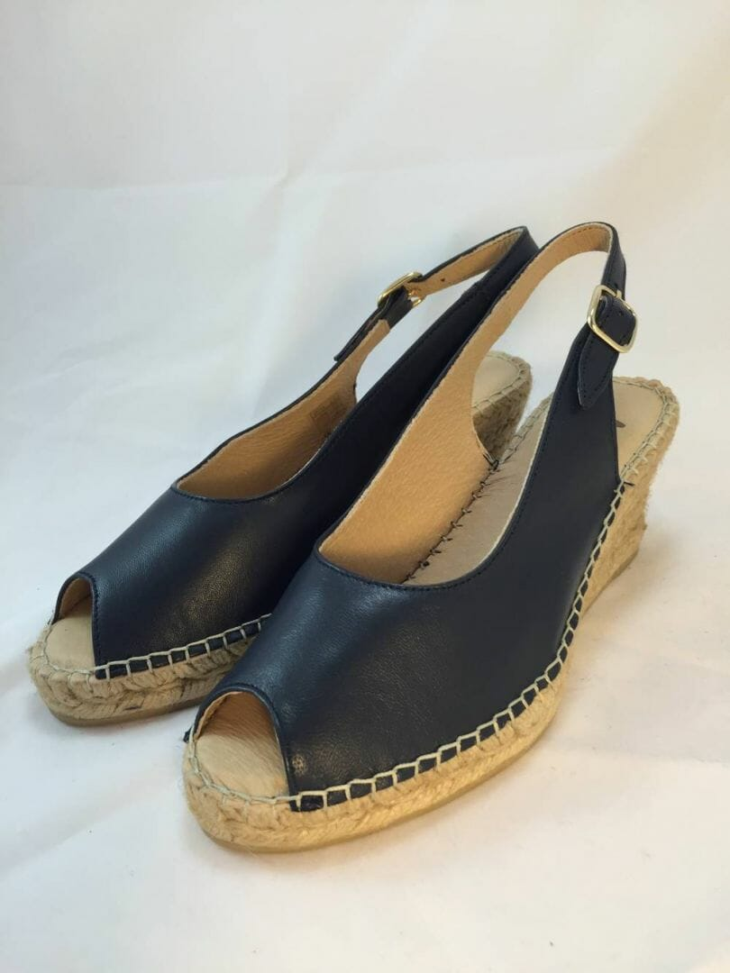 Ellie.d 34010 Navy blue leather espadrille wedge