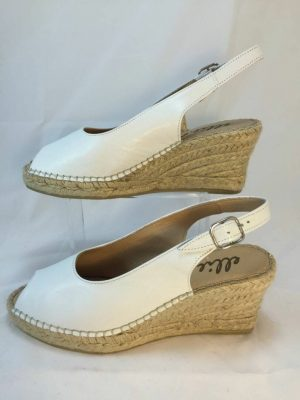 Ellie.d 34010 White leather espadrille wedge