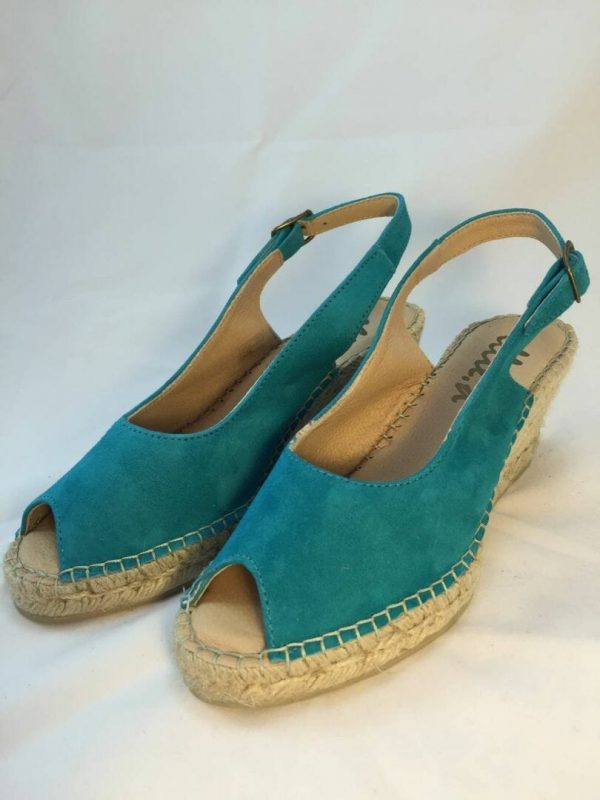 Ellie.d 34024 Turquoise suede leather espadrille wedge