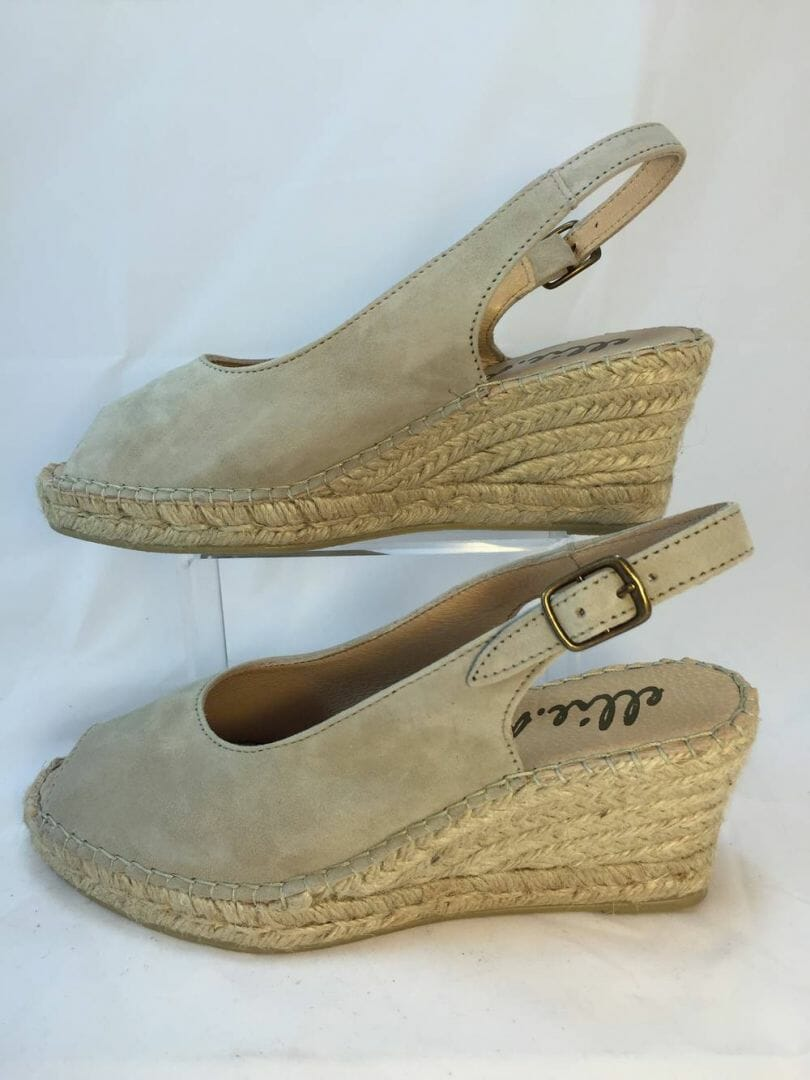 Ellie.d 34024 Beige suede leather espadrille wedge