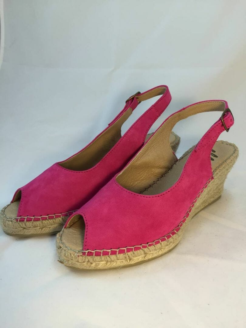 Ellie.d 34024 Fuchsia pink suede leather espadrille wedge