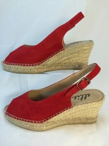 Ellie.d 34024 Rojo red suede leather espadrille wedge