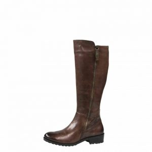 Caprice 9-25502-29 Knee length dark brown leather extra slim leg boot