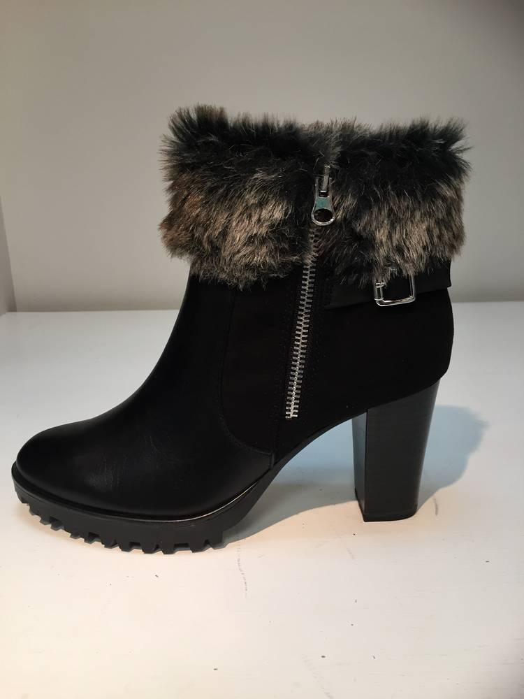 d2f6834d83e Caprice 9-25428-29 Black leather/suede faux fur top ankle boot ...
