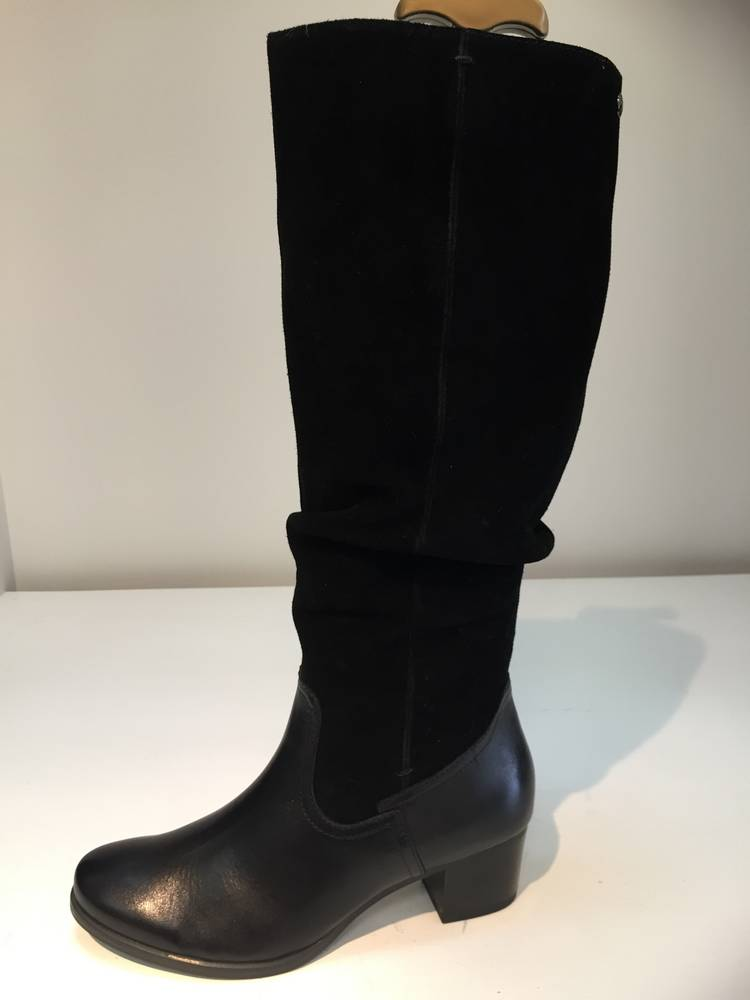Caprice 9-26470-29 black/white suede leather lambskin ankle boot