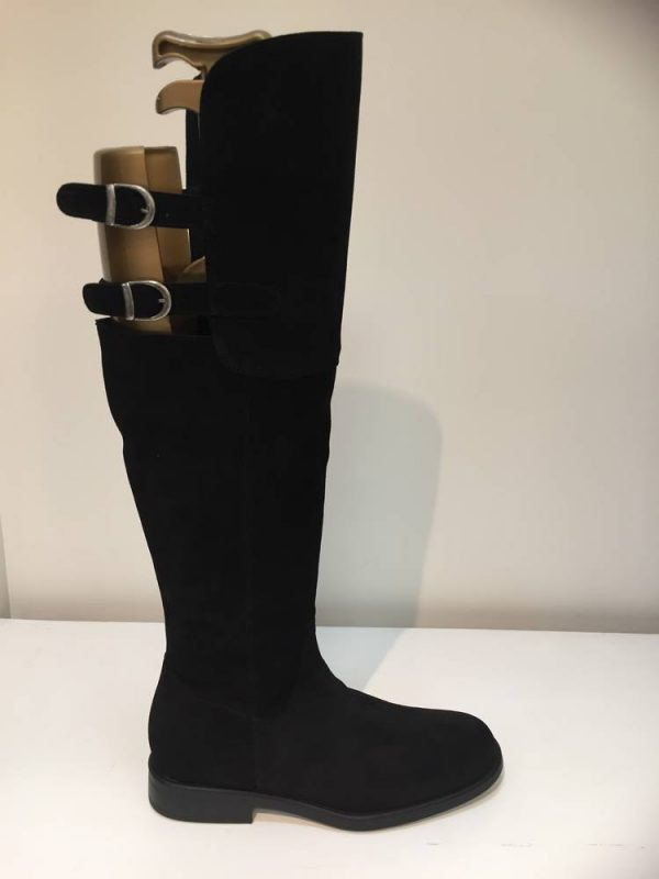 Cefalu A1415 Black suede leather over the knee boot with buckles