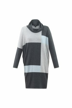 Marble 5492 cowl neck jumper dress in pale blue and grey