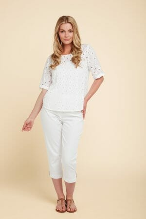 Adini Pearl top - Eden eyelet in white