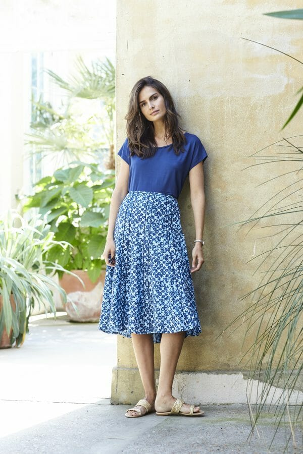 Adini Peggy skirt - Brunel print cotton panelled side zip with flared hem