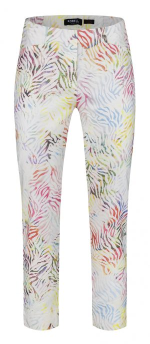"Robell ""Rose"" 51627 54828 multi coloured ankle grazer trousers"