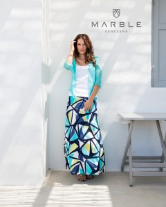 Marble 5772 geometric print maxi skirt - turquoise, navy, lime and white