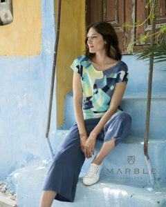 Marble 5590 abstract print top with boat neck and cap sleeves