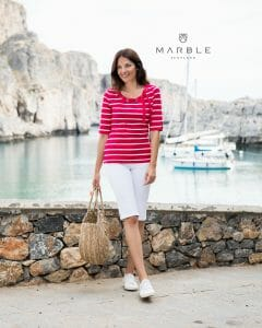 Marble 5647 Striped t-shirt with elbow length sleeves, with rivet feature round neckline