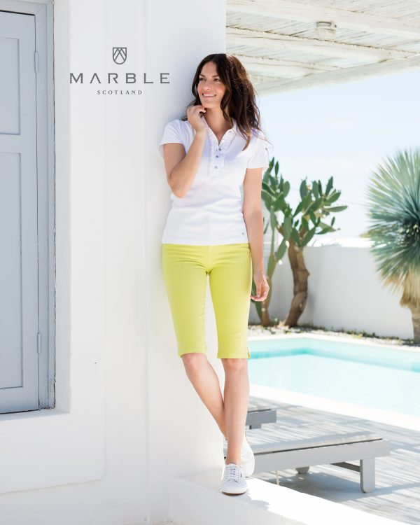 Marble 5668 Classic polo style t-shirt with frill trim and buttoned neckline