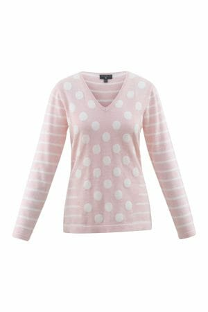 Marble 5671 v neck cotton jumper with spots and stripe decoration