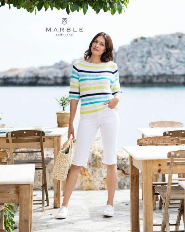 Marble 6124 Striped, round neck jumper with elbow length sleeve