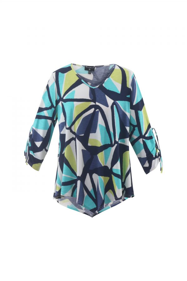 Marble 5766 v neck tunic top with 3/4 length sleeves and pointed hemline