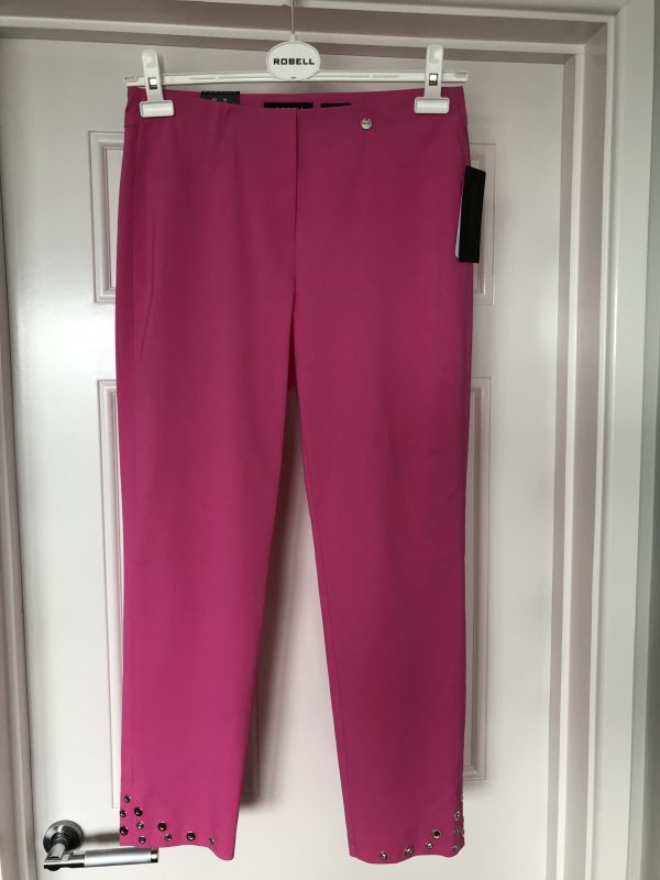 "Robell ""Bella"" 51545 5499 bright pink ankle grazer trousers with silver rivet decoration"