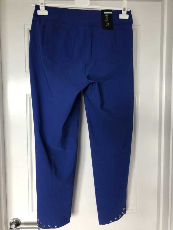 "Robell ""Bella"" 51545 5499 royal blue ankle grazer trousers with silver rivet decoration"