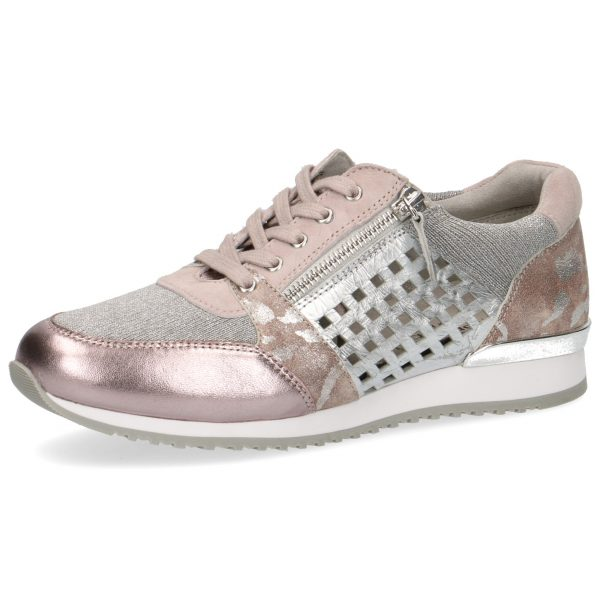 Caprice 9-23503-24 soft pink combination trainer with zip or lace up fastening