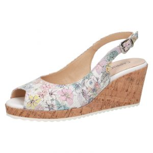Caprice 9-28705-24 garden multi leather peep toe cork wedge