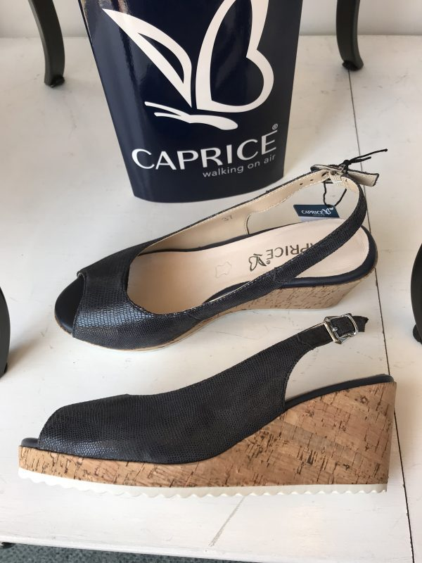 Caprice 9-28705-24 navy reptile leather peep toe cork wedge