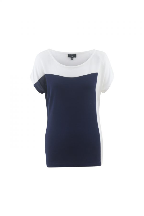Marble 5613  short sleeved lightweight top with block colour
