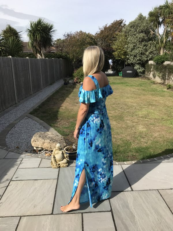 Marble 5352 Maxi dress with strap and frill top and side splits skirt