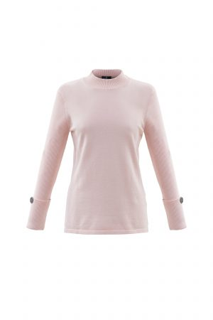 Marble 5795 crew neck jumper with ribbed full length deep cuffed sleeves with button decoration