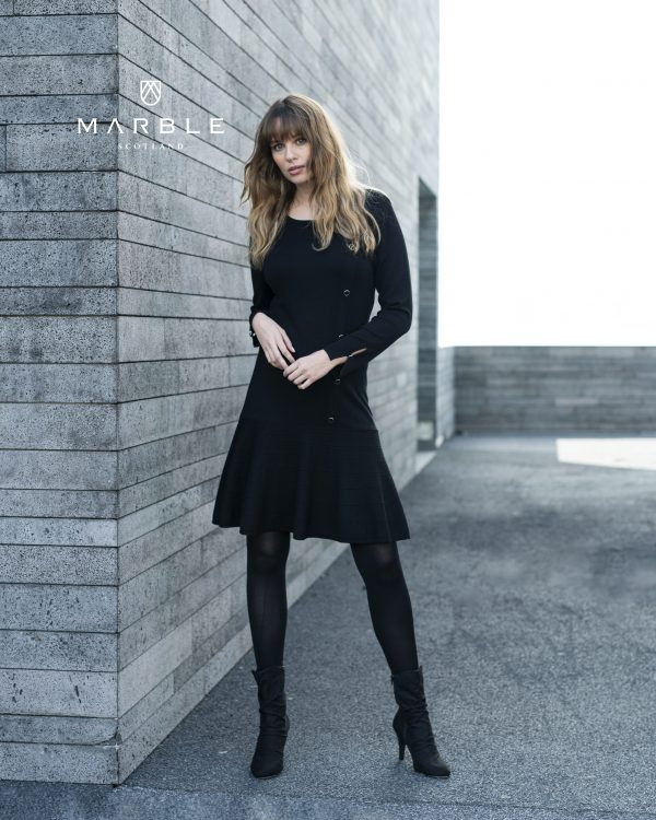 Marble 5815 diagonal button decorated flared skirt dress with button detailed sleeves