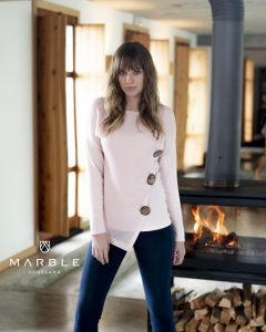 Marble 5820 long sleeved jumper with mesh front, three button diagonal decoration with pointed asymmetric hemline