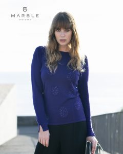 Marble 5833 round neck jumper with full length side slit sleeves with delicate sparkle navy gemstones in circular patterns