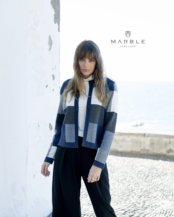 Marble 5869 waist length three button cardigan/jacket in square print